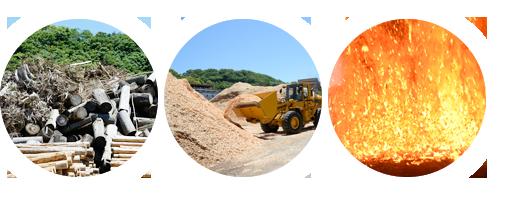 森林再生と地域活性化に貢献する木質バイオマス発電イメージ